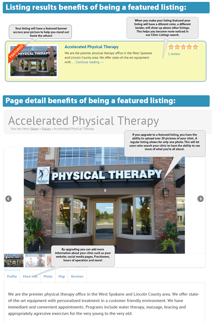 benefits of becoming a featured listing on physicaltherapist.com